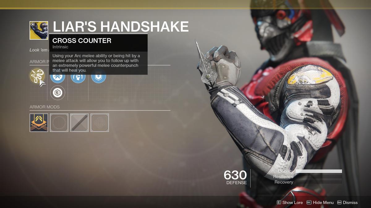 Liar's Handshake hunter exotic destiny 2