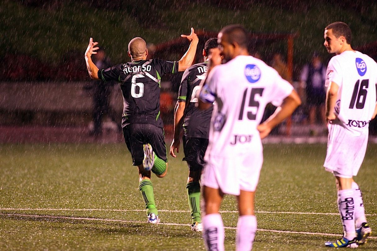 Osvaldo Alonso scored two goals for the Seattle Sounders, one at each of the end of the two halves. They were his first goals of CONCACAF Champions League play. (Photo courtesy of Sounders FC)