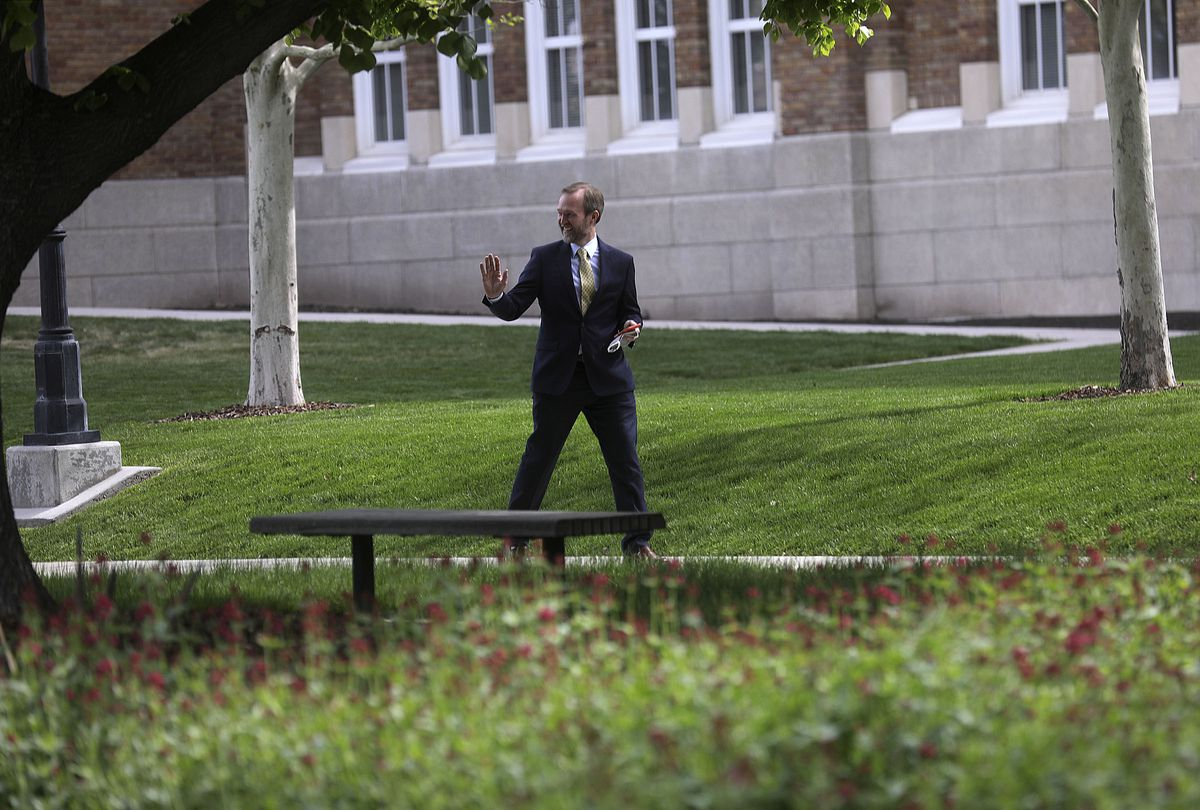 Rep. Ben McAdams, D-Utah, waves as he leaves a press conference about the CARES Act, which suspends student loan payments and reduces interest to 0% until the end of September 2020, outside of Salt Lake Community College's South City Campus in Salt Lake City on Wednesday, May 6, 2020.