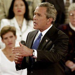 President Bush took an aggressive tack in debate. He said Kerry will raise taxes.
