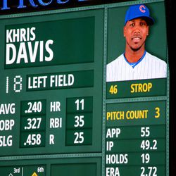 9:50 p.m. Pedro Strop's photo, with tilted cap, on the left field video board -