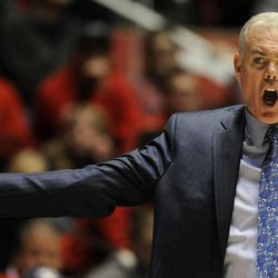Brigham Young Cougars head coach Dave Rose is upset about a call during a game at the Jon M. Huntsman Center on Saturday, Dec. 14, 2013.