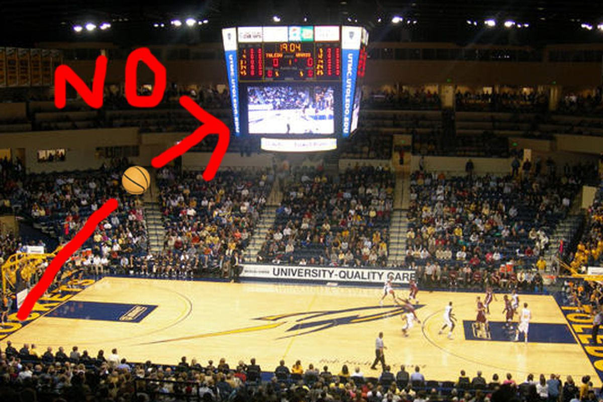 What Matt Smith's inbounds pass looked like (Artist's rendition). This led to a Loyola inbounds play with 1.2 seconds left, hitting the buzzer-beating shot and winning 57-55.