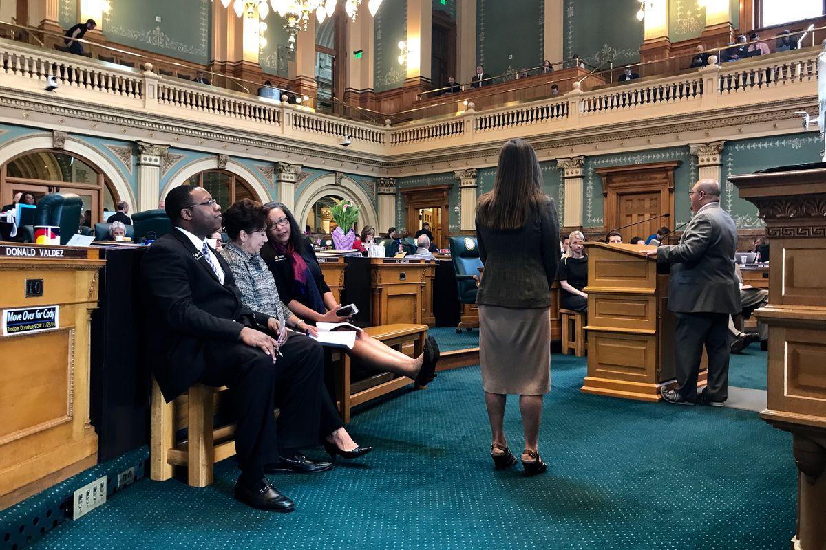 A group of House Democrats lined up Tuesday to speak out against a proposed charter school funding bill. (Photo by Nic Garcia/Chalkbeat)