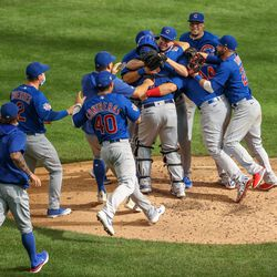Alec Mills and his teammates celebrate his no-hitter in Milwaukee, September 13