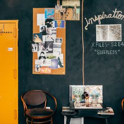 """Inspiration wall and mood board. Currently watching endless episodes of the <b>X-Files</b> to gather inspiration for our upcoming fall collection """"Hallucinations"""". It's a tough job."""