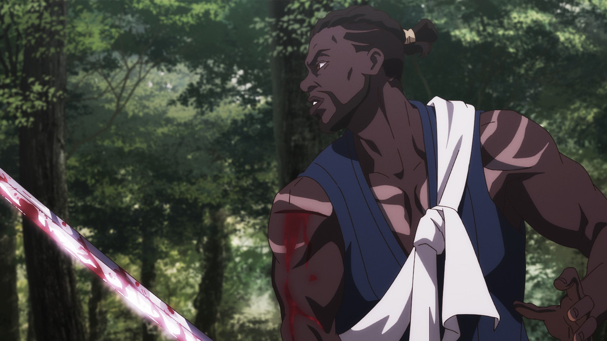 Yasuke readies a blood-drenched sword for battle.