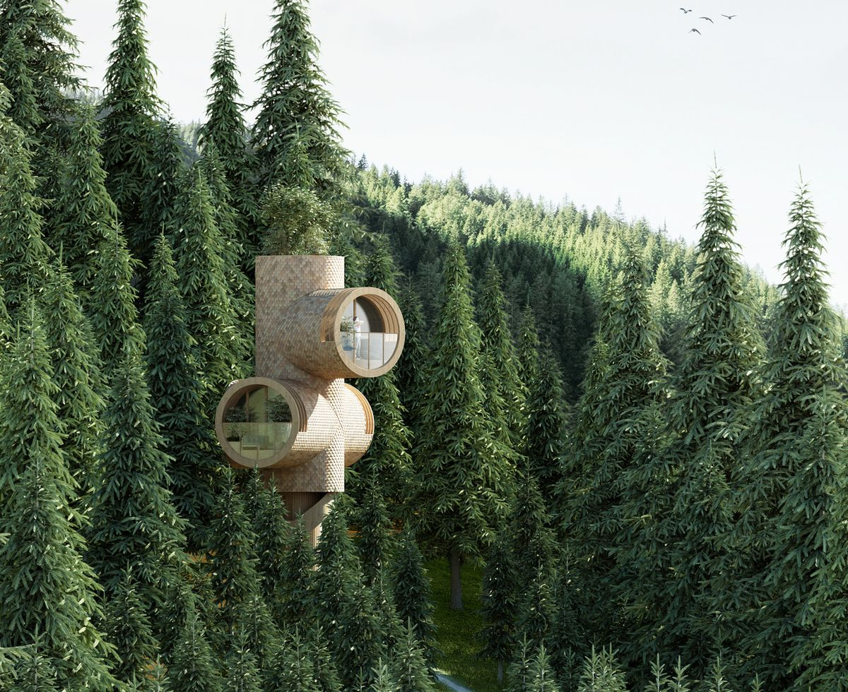 Rendering of treehouse in forest