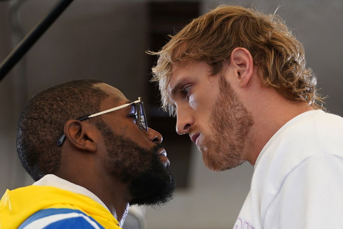 Professional boxer Floyd Mayweather Jr. and YouTube star Logan Paul face off at Villa Casa Casuarina.