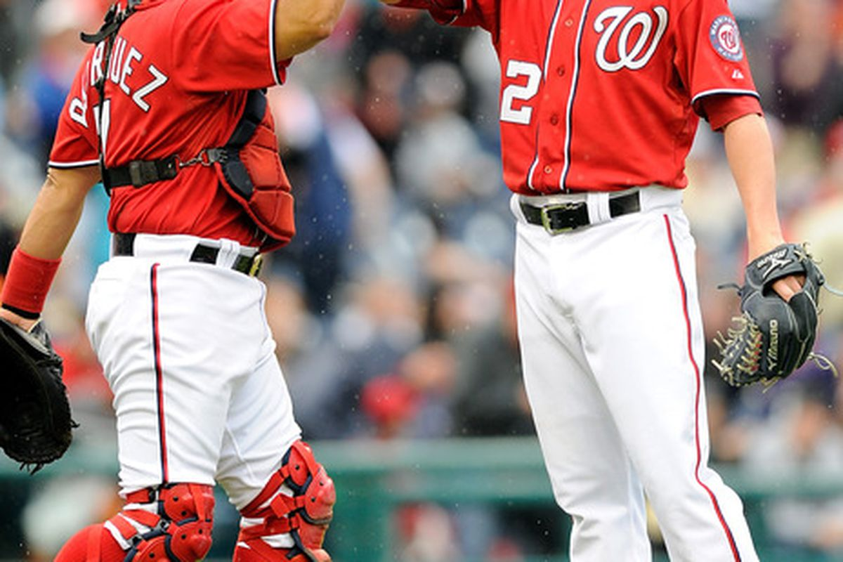 WASHINGTON, DC - MAY 01:  Drew Storen #22 of the Washington Nationals celebrates with Ivan Rodriguez #7 after a 5-2 victory against the San Francisco Giants at Nationals Park on May 1, 2011 in Washington, DC.  (Photo by Greg Fiume/Getty Images)