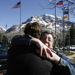 Elder Kyle Gardner of Caldwell, Idaho gets a hug from his mother Jolene as he says goodbye on his first day at the Provo Missionary Training Center of The Church of Jesus Christ of Latter-day Saints in Provo, Utah, Wednesday, Feb. 2, 2011. s)