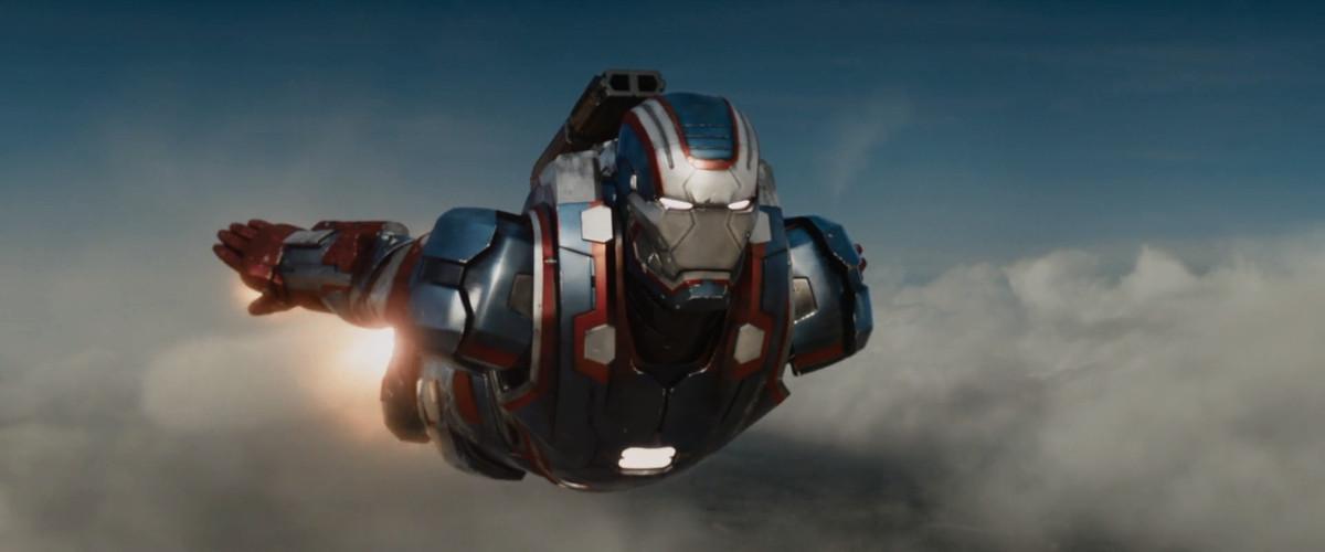 James Rhodey Rhodes in the Iron Patriot War Machine suit in Iron Man 3 (2013).