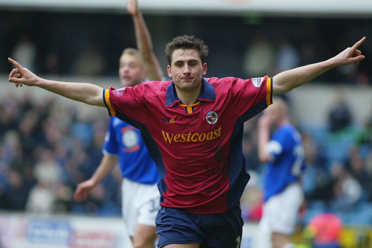 Nicky Forster of Reading celebrates scoring the first goal