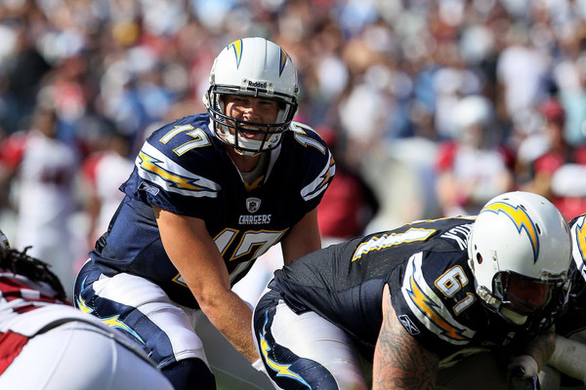 SAN DIEGO - OCTOBER 03:  Quarterback Philip Rivers of the San Diego Chargers calls signals against the Arizona Cardinals at Qualcomm Stadium on October 3 2010 in San Diego California.   The Chargers won 41-10.  (Photo by Stephen Dunn/Getty Images)
