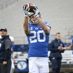 BYU's Rickey Shumway catches a pass during the warmup before the Blue-White game at LaVell Edwards Stadium in Provo on Saturday, April 7, 2018.