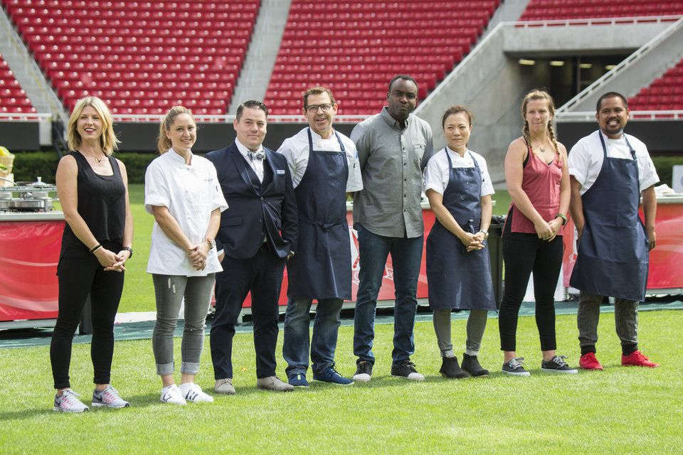 a lineup of the top chef contestants