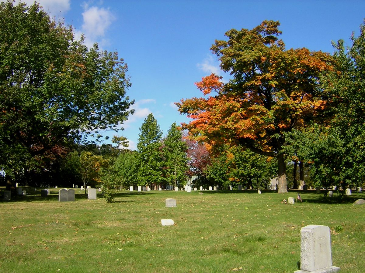 A law with trees and the odd headstone or grave marker.