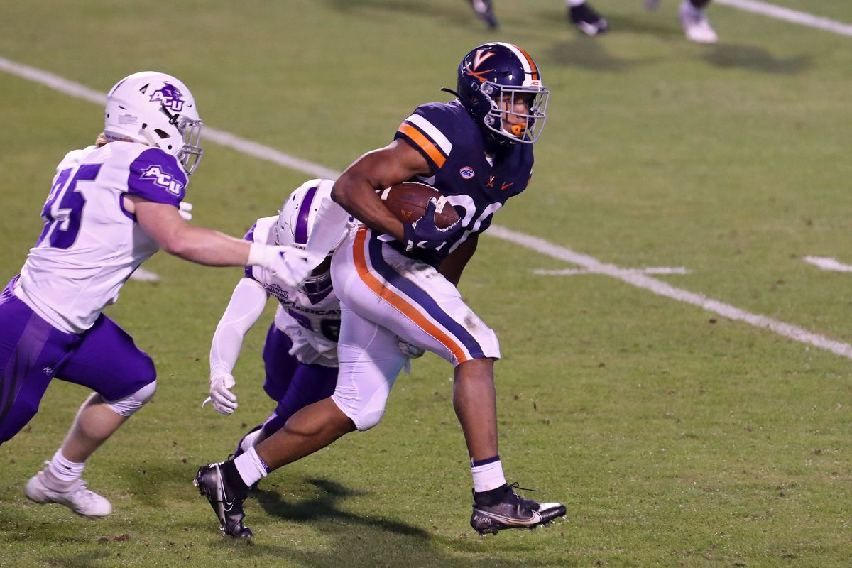 Ronnie Walker Jr. of the Virginia Cavaliers rushes in the second half during a game against the Abilene Christian Wildcats at Scott Stadium on November 21, 2020 in Charlottesville, Virginia.