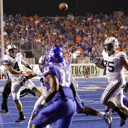 Taysom Hill of the Brigham Young Cougars throws an incomplete pass while trying a two point conversion against Boise State during NCAA football in Boise, Thursday, Sept. 20, 2012.