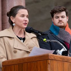 Salt Lake City Mayor Erin Mendenhall announces the opening of a new temporary, emergency overnight shelter for people experiencing homelessnessduring a press conference at the Salt Lake City-County building in Salt Lake City on Thursday, Jan. 16, 2020.