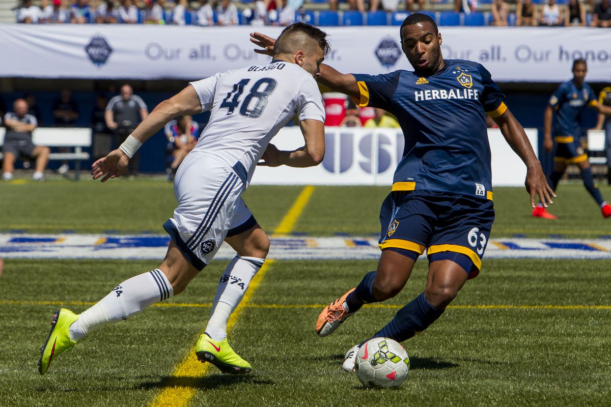 Victor Blasco (L) and Andre Auras battle for the ball during a match between WFC2 and LA Galaxy 2. LA won the match 2-0.