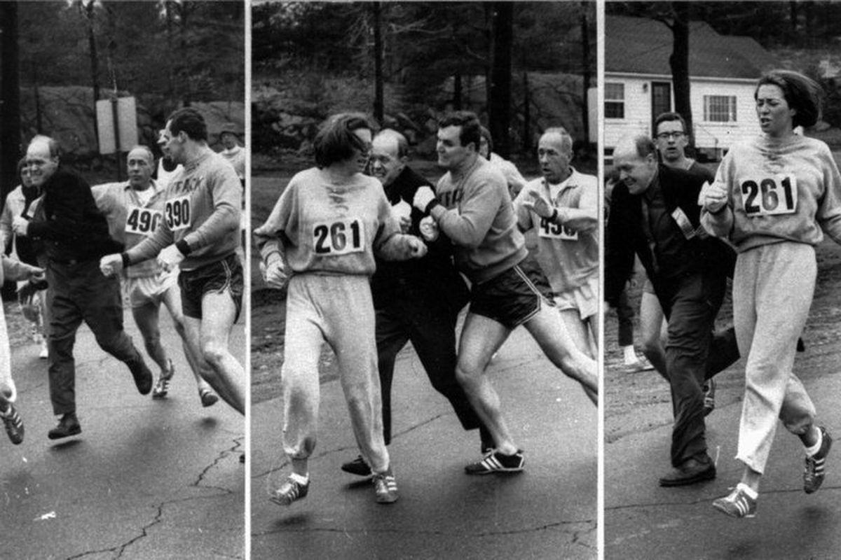 In 1967 Boston Marathon organizer Jock Semple attempted to take the running bib from Katherine Switzer during the race until her boyfriend, Tom Miller intervened. AP