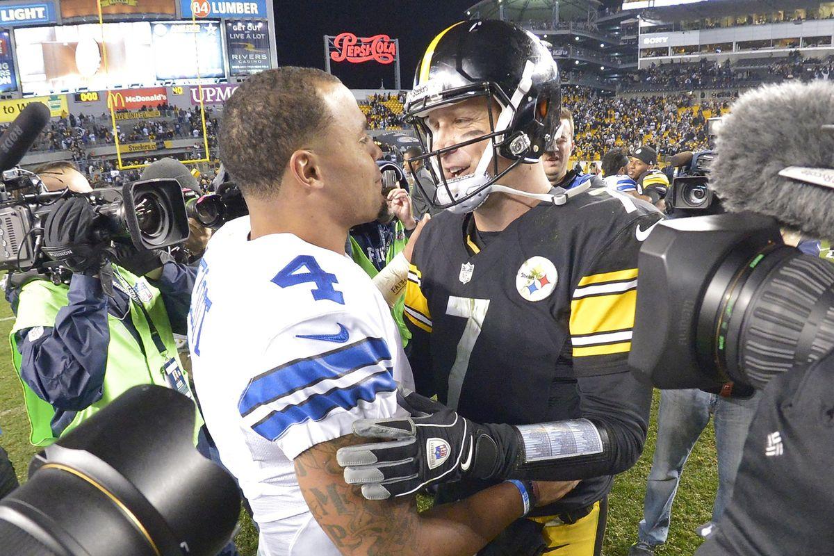 Dallas Cowboys quarterback Dak Prescott (4) and Pittsburgh Steelers quarterback Ben Roethlisberger (7) meet after the game as the Dallas Cowboys beat the Pittsburgh Steelers 35-30 on Sunday, Nov. 13, 2016 at Heinz Field in Pittsburgh, PA.