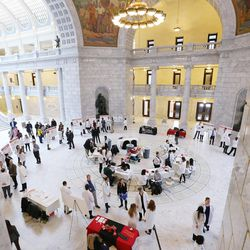 Students at the University of Utah and Roseman University mark Pharmacy Day at the Utah Legislature by putting on a health fair and giving presentations to legislators in the Capitol rotunda in Salt Lake City on Tuesday, Jan. 31, 2017. The health fair included blood pressure, glucose and cholesterol screenings.