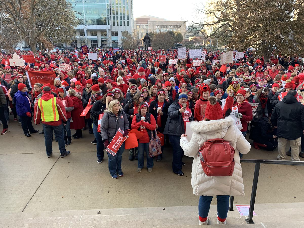 Thousands of teachers attend a Red For Read rally at the Indiana Statehouse on Nov. 19, 2019.