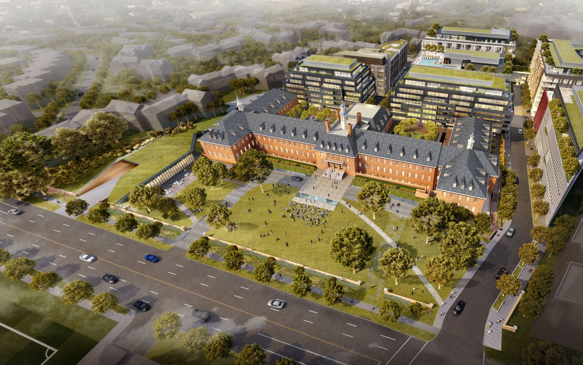 A rendering of a planned development seen from above. It is built around a historic Colonial building. There is open space on a front lawn.