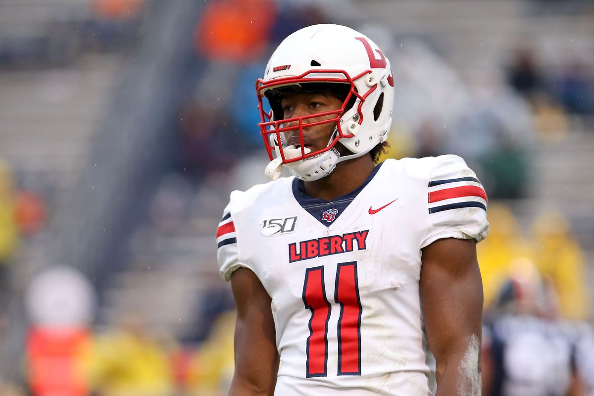 Antonio Gandy-Golden #11 of the Liberty Flames looks on in the second half during a game against the Virginia Cavaliers at Scott Stadium on November 23, 2019 in Charlottesville, Virginia.