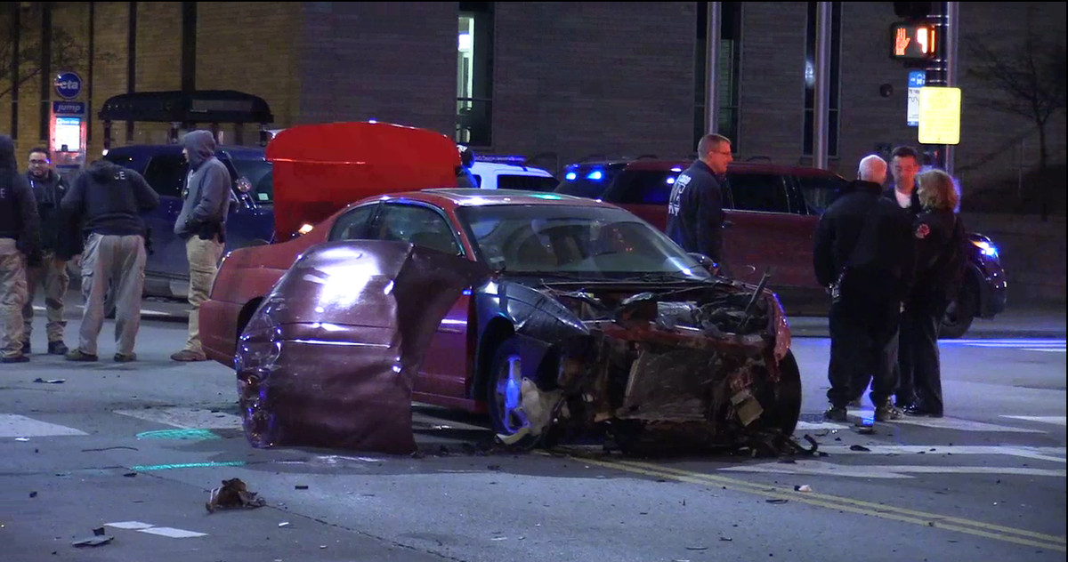 Officials investigate a five-vehicle crash that injured ten people Thursday night in the South Shore neighborhood.<br>  Network Video Productions, Inc