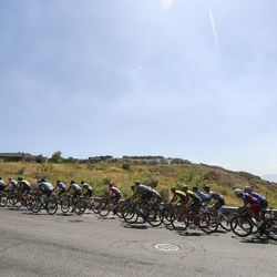 The peloton climbs Eagle Ridge Drive during Stage 3 of the Tour of Utah in North Salt Lake on Thursday, Aug. 15, 2019.