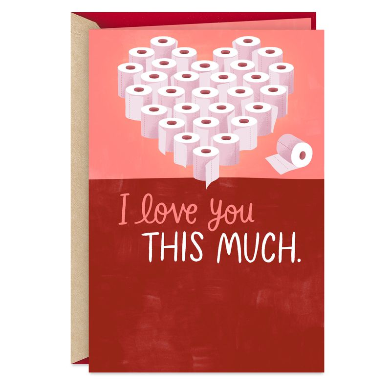 """a card with a heart made out of toilet paper rolls reading """"I love you this much"""""""