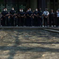 First responders attend the commemoration of the 20th anniversary of 9/11 at the Richard J. Daley Plaza in the Loop, Saturday morning, Sept. 11, 2021.