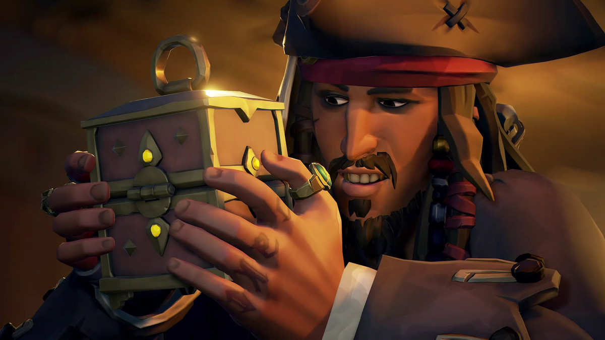 Captain Jack Sparrow examines a lockbox in Sea of Thieves