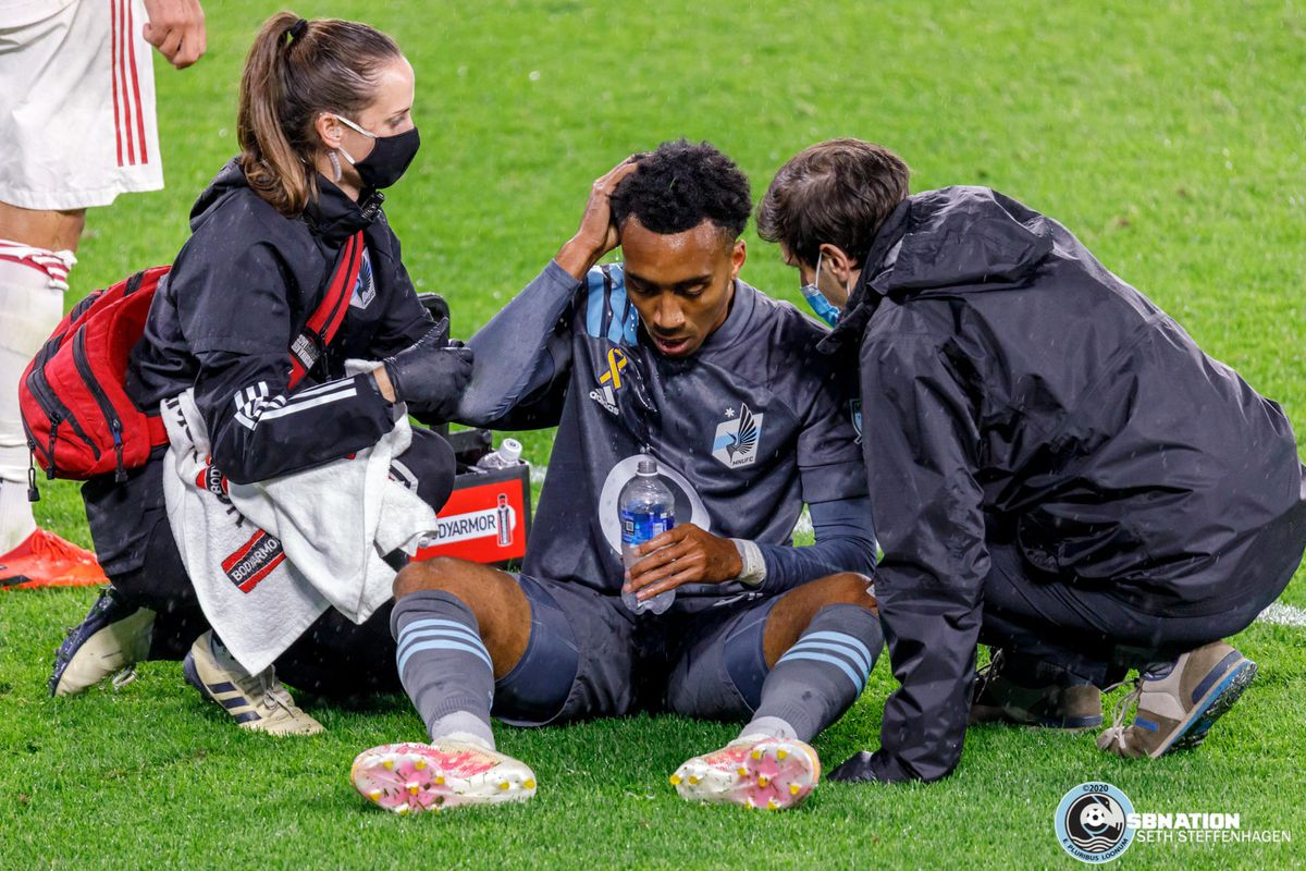 September 27, 2020 - Saint Paul, Minnesota, United States - Minnesota United midfielder Marlon Hairston (94) is treated for a head injury during the match against Real Salt Lake at Allianz Field.