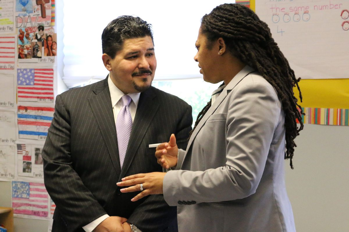 Chancellor Richard Carranza visits the Bronx Charter School for Excellence and speaks to Charlene Reid, the network's Chief Executive Officer.