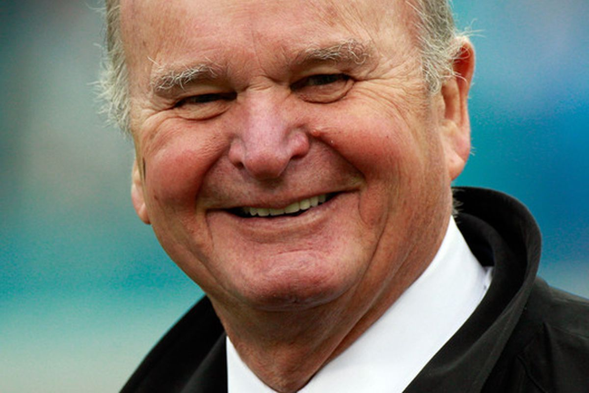 JACKSONVILLE FL - DECEMBER 12:  Owner of the Jacksonville Jaguars Wayne Weaver smiles prior to the game against the Oakland Raiders at EverBank Field on December 12 2010 in Jacksonville Florida.  (Photo by Sam Greenwood/Getty Images)
