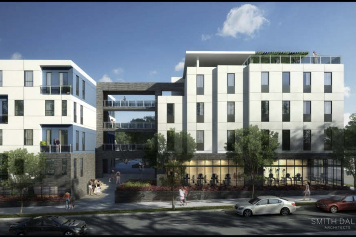Rendering of white, multi-story apartment building.