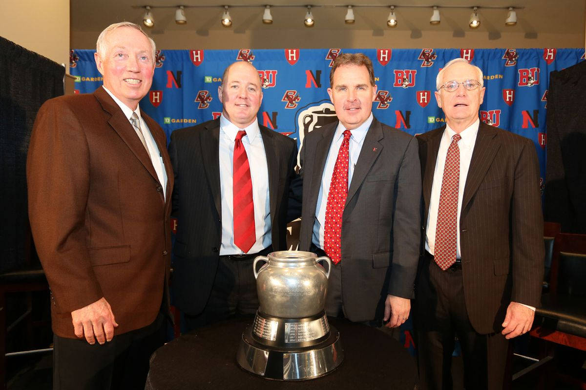 Harvard head coach Ted Donato, second from left, with the other three Beanpot coaches before the 2013 event.