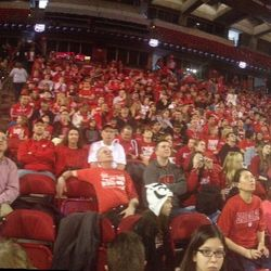 A panorama view of fans packing the Kohl Center before the event had even begun.