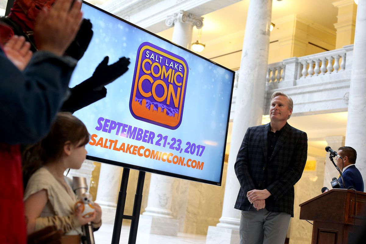 FILE - Dan Farr, Producer and Founder of Salt Lake Comic Con, speaks at the Salt Lake Comic Con 2017 Press Conference at the Utah State Capitol on Wednesday, May 17, 2017. A trademark battle between the San Diego and Salt Lake Comic Cons has come down to