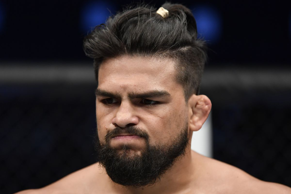 Kelvin Gastelum reacts after his submission loss to Jack Hermansson of Sweden in their middleweight bout during the UFC Fight Night event inside Flash Forum on UFC Fight Island on July 19, 2020 in Yas Island, Abu Dhabi, United Arab Emirates.