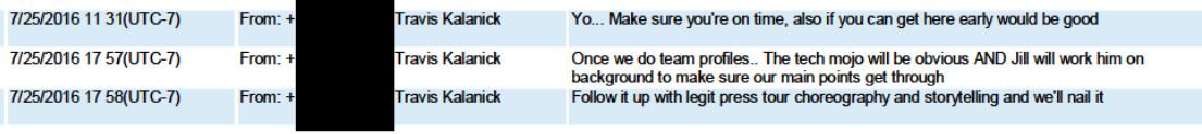 Uber CEO Travis Kalanick text to Otto CEO Anthony Levandowski July 2016