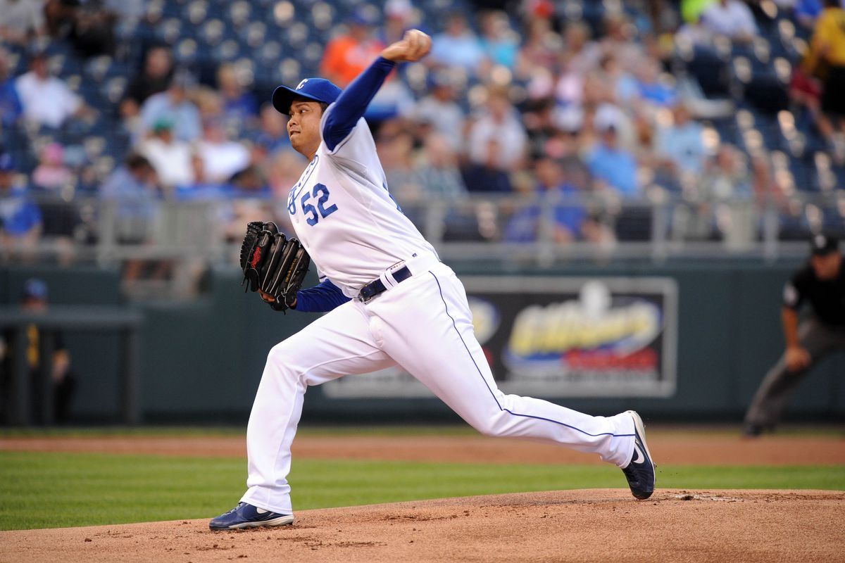 Aug 29, 2011; Kansas City, MO, USA; Kansas City Royals starting pitcher Bruce Chen (52) delivers a pitch in the first inning against the Detroit Tigers at Kauffman Stadium. Mandatory Credit: John Rieger-US PRESSWIRE