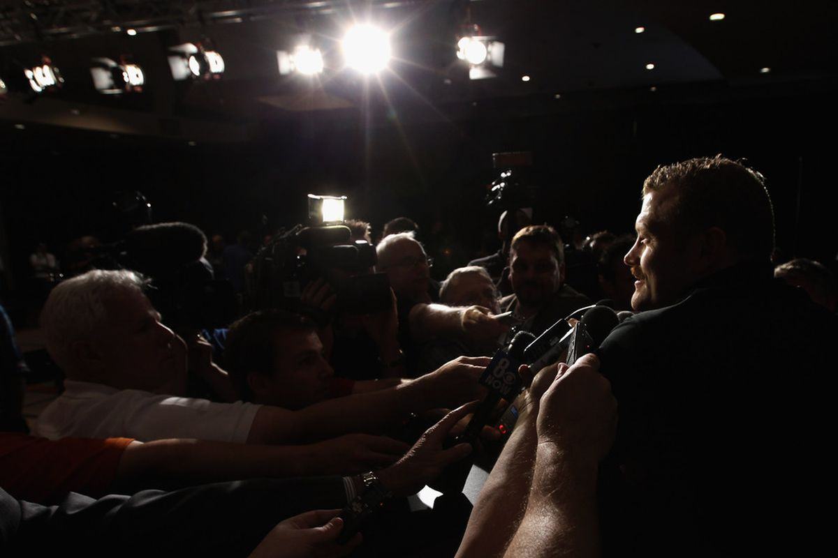 LAS VEGAS, NV - JUNE 21:  Tim Thomas of the Boston Bruins addresses the media at the 2011 NHL Awards nominee media availability at the Palms Casino Resort on June 21, 2011 in Las Vegas, Nevada.  (Photo by Bruce Bennett/Getty Images)