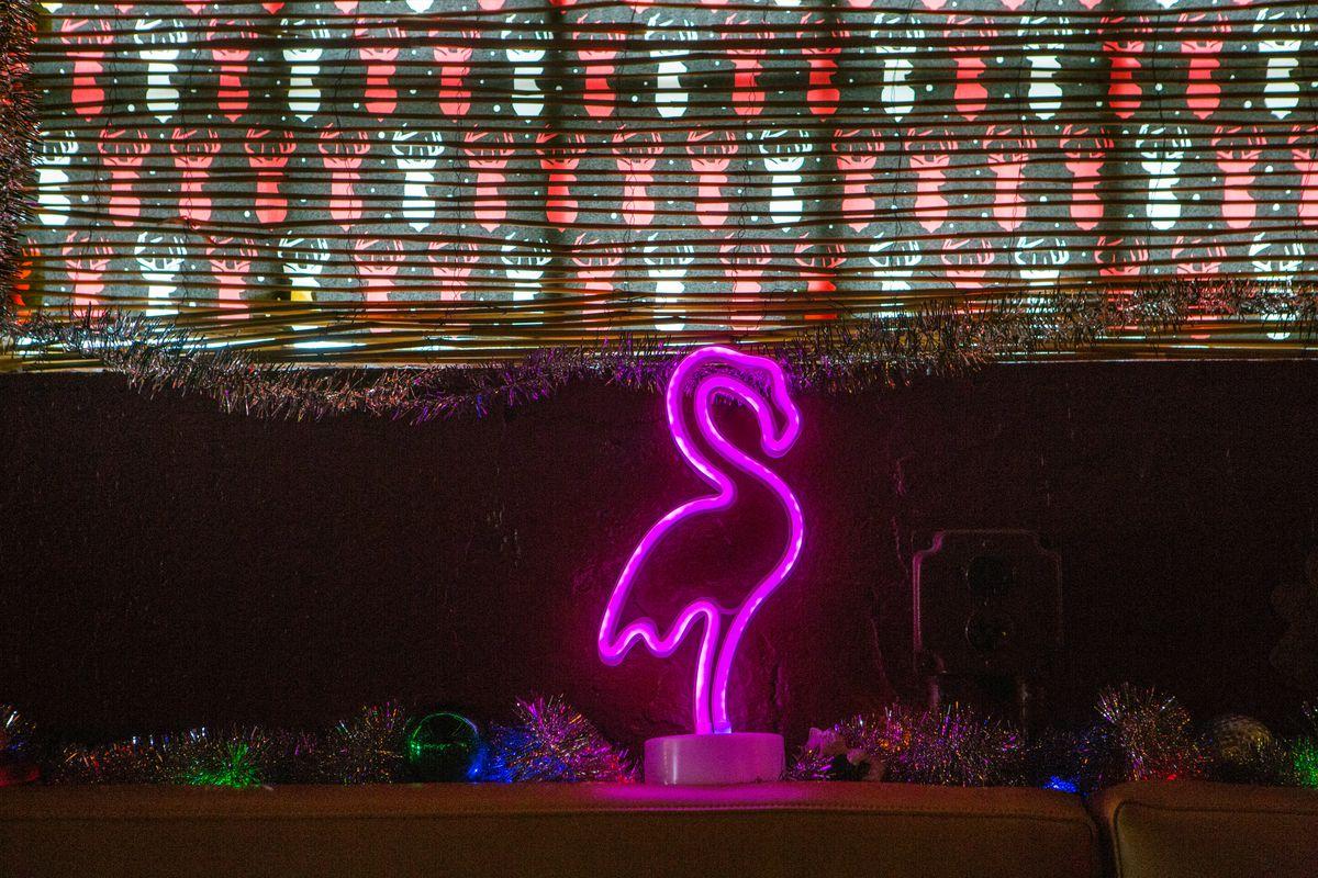 A neon flamingo at Sippin' Santa