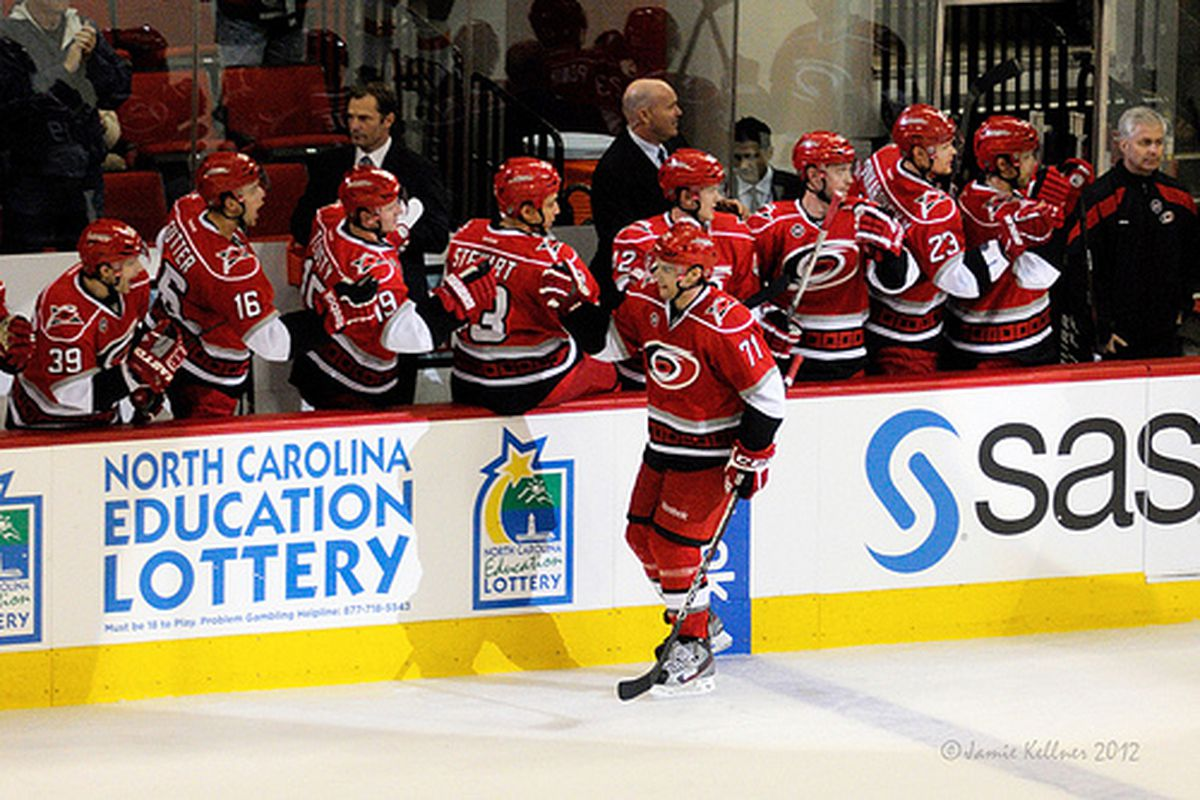 The Carolina Hurricanes bench celebrates Jerome Samson's first NHL goal, in a game against the Philadelphia Flyers on January 10, 2012.  (author's photo)