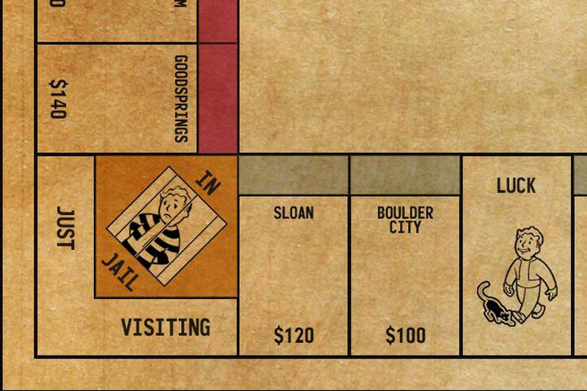 Rent the Wasteland with a Fallout: New Vegas Monopoly board